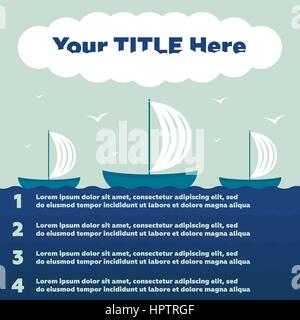 Infographics elements. Ship in the sea, 4 steps - Stock Photo