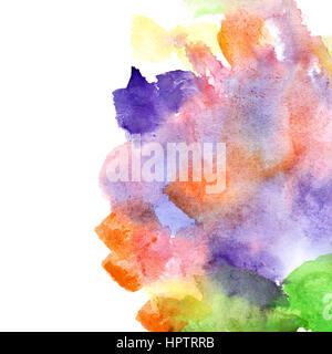 Variegated watercolor abstract background with copyspace - Stock Photo