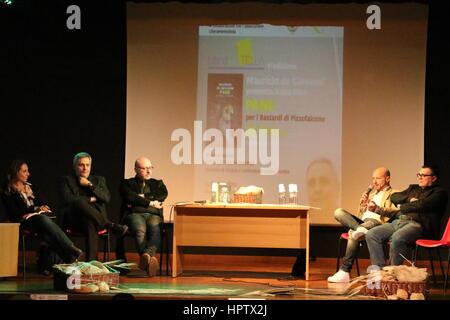 Succivo, Italy. 23rd Feb, 2017. Presentation of the last novel of the writer Maurizio De Giovanni 'Pane per i Bastardi - Stock Photo
