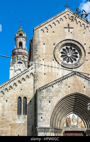 View of the facade of San Siro Cathedral in the historic center of Sanremo - Stock Photo