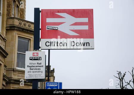 Clifton Down railway station on Whiteladies Road in Bristol, UK - Stock Photo