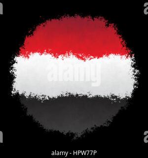 Color spray stylized flag of Yemen on black background - Stock Photo