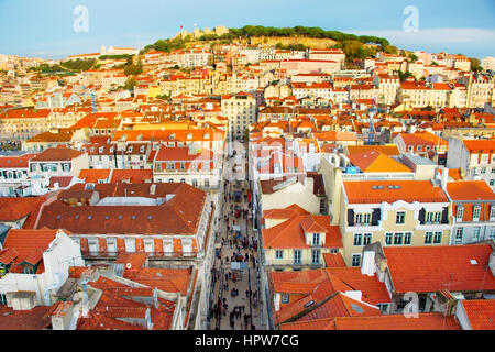 Lisbon Old Town with the Castle on a top of a hill. Portugal - Stock Photo