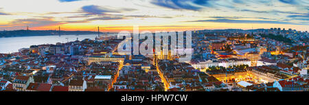 Lisbon panoramic view in the beautiful twilight. Portugal - Stock Photo
