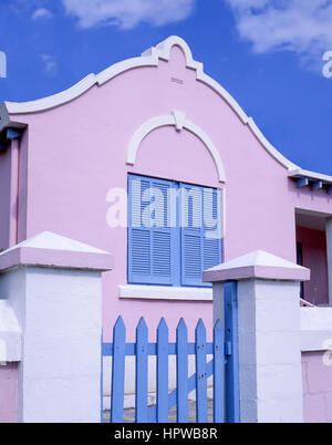 Traditional pastel house, St.George's Town, St.George's Parish, Bermuda - Stock Photo