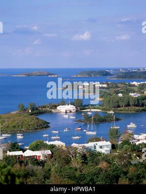 View of inlet, Jew's Bay, Southampton Parish, Bermuda - Stock Photo
