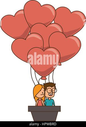 color silhouette with couple in hot-air balloon in shape of hearts - Stock Photo