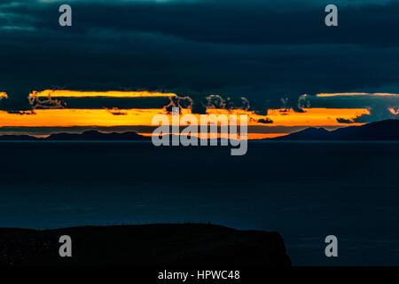 Sunset from Trumpan, on the Waternish Peninsula, Isle of Skye, looking towards the Western Isles, October 2016 - Stock Photo