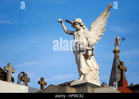 Angel with old tombs in Recoleta Cemetery, Buenos Aires, Argentina - Stock Photo