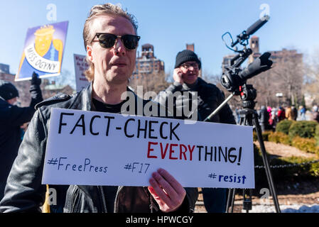 New York, USA 17 February 2017 - Activists rallied in Washington Square, in solidarity with the  General Strike, - Stock Photo