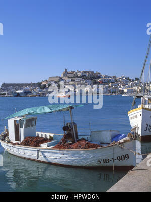 View of Old Town and Dalt Vila from Port, Eivissa, Ibiza, Balearic Islands, Spain - Stock Photo