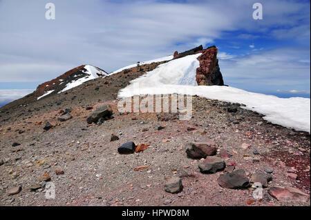 Alpine landscape on Mount Ruapehu, near Mount Ngaruhoe, Tongariro National Park, New Zealand - Stock Photo