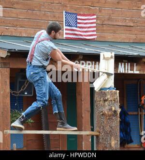 Lumberjacks at the Great Alaskan Lumberjack Show - Stock Photo