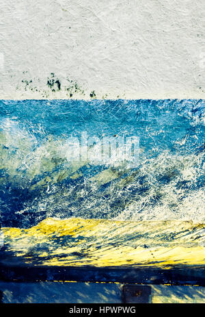 Abstract composition of horizontal stripes in grey, blue and yellow, from the hull of a fibreglass fishing boat - Stock Photo