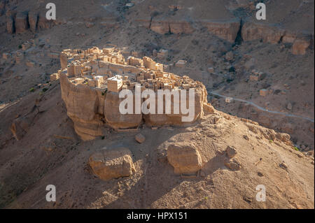 Panorama of Haid Al-Jazil in Wadi Doan, Hadramaut, Yemen - Stock Photo