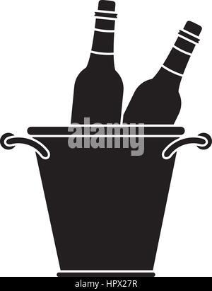 glass bottles wine bucket pictogram - Stock Photo