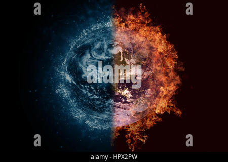 Planet Earth in water and fire. Concept sci-fi artwork. - Stock Photo