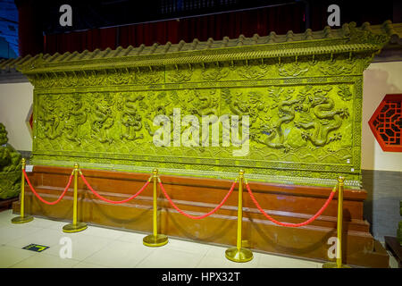BEIJING, CHINA - 29 JANUARY, 2017: Large green metal plate with beautiful jade crafted pattern, spectacular piece - Stock Photo