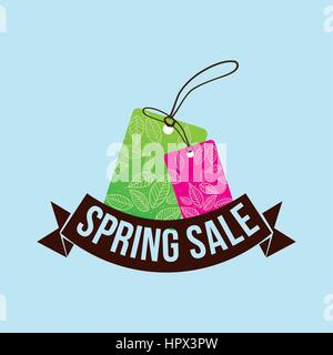 spring sale tag price shopping concept - Stock Photo