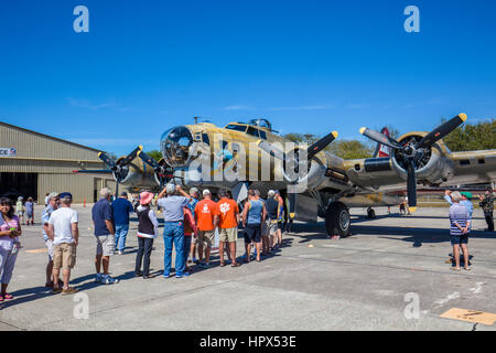B-17 Flying Fortress bomber at Wings of FreedomTour of historic vintage WWII war planes at Venice Airport in Venice - Stock Photo