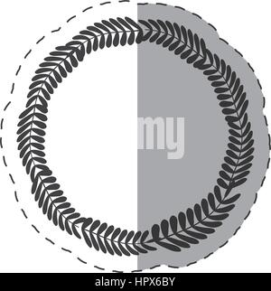 laurel crown round label decoration thin line - Stock Photo
