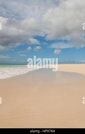 Empty Beach in Boa Vista in Cape Verde - Stock Photo