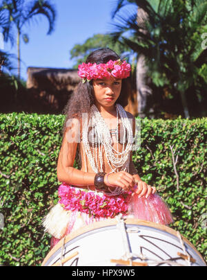 Young female Hawaiian dancer, Kodak Hula Show, Honolulu, Oahu, Hawaii, United States of America - Stock Photo