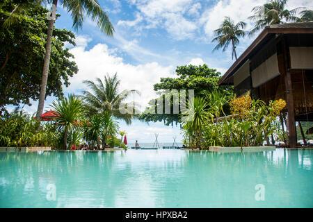 Swimming pool beach Island Koh Phangan Thailand paradise palms - Stock Photo