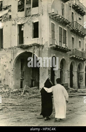 The buildings in Suez after bombing, Egypt 1956 - Stock Photo