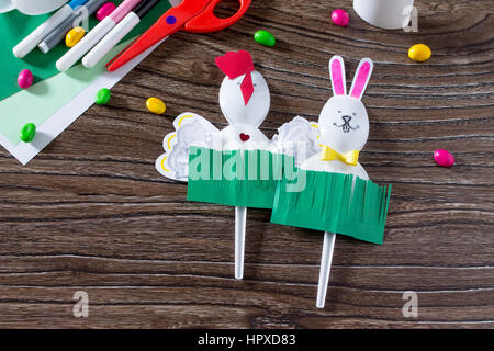 The child creates an easter gift toy easter bunny paper glue and the child creates an easter gift toy easter bunny paper glue and plastic spoons negle Images
