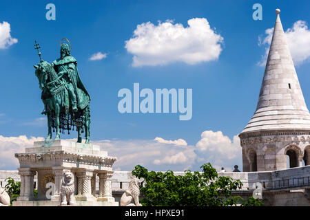 King St Stephen equestrian Statue near the Fisherman Bastion, in Buda Castle Hill, Budapest, Hungary - Stock Photo