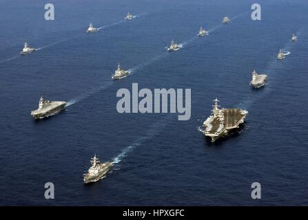 Twenty-six ships from the U.S. Navy and the Japan Maritime Self-Defense Force are underway together after the conclusion - Stock Photo