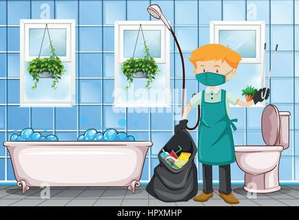 Male janitor cleaning the toilet illustration - Stock Photo