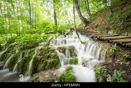 Beautiful Sunlight Filters Through Trees at Plitvice Lakes National Park, shining on the silky cascades of the many - Stock Photo