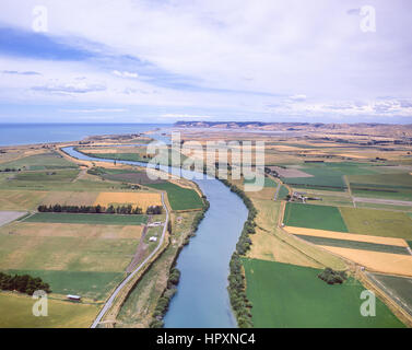 Aerial view of Wairoa River leading to Cloudy Bay, Wairau Valley, Blenheim, Marlborough, South Island, New Zealand - Stock Photo