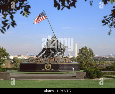 Iwo Jima Memorial outside Arlington National Cemetery, Arlington County, Virginia, United States of America - Stock Photo