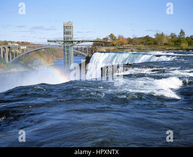 American and Bridal Veil Falls, Niagara Falls, New York State, United States of America - Stock Photo