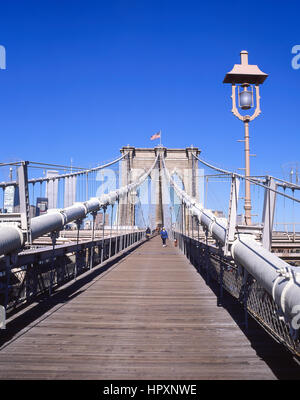 Pedestrian walkway over Brooklyn Bridge, Manhattan, New York, New York State, United States of America - Stock Photo
