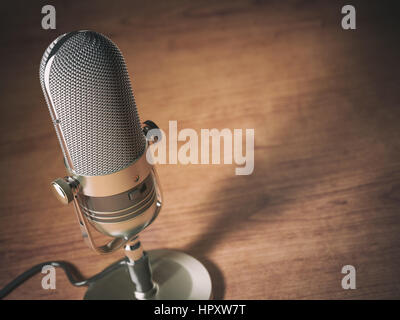 Retro microphone on the table with space for text. Vintage style background. 3d illustration - Stock Photo