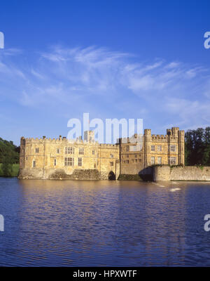 View of Leeds Castle across moat, Broomfield, Kent, England, United Kingdom - Stock Photo