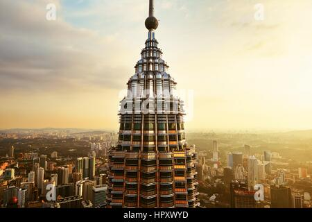 KUALA LUMPUR, MALAYSIA - APRIL 25: View from the top of Petronas Twin Towers on April 25, 2014 in Kuala Lumpur, - Stock Photo