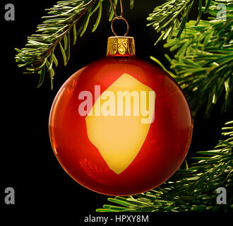 A red bauble with the golden shape of  Swaziland hanging on a christmas tree isolated on black.(series) - Stock Photo