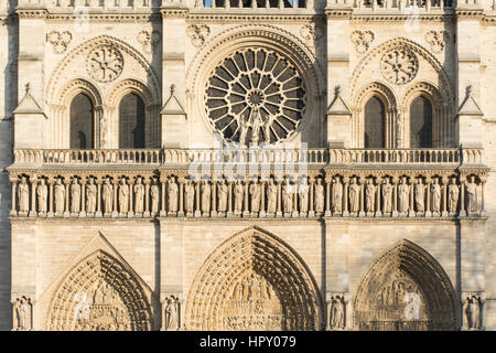 Notre Dame Cathedral, detail of the front facade. Paris, France - Stock Photo