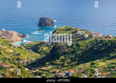 The northern coast of Porto da Cruzseen from the Miradouro Porto da Cruz, Madeira, Portugal. - Stock Photo