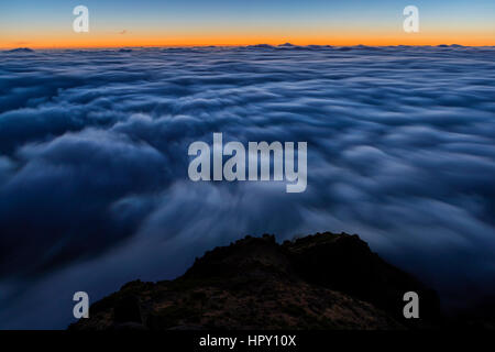 Sunrise seen from Pico do Arieiro, Madeira, Portugal. - Stock Photo