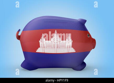 Side view of a piggy bank with the flag design of Cambodia.(series) - Stock Photo