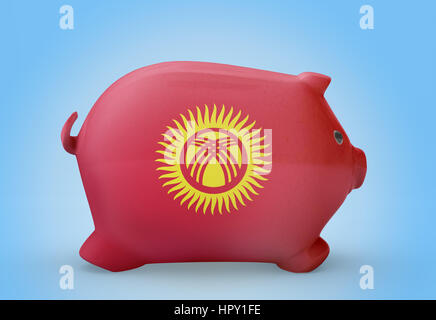 Side view of a piggy bank with the flag design of Kyrgyzstan.(series) - Stock Photo