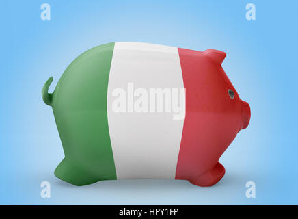 Side view of a piggy bank with the flag design of Italy.(series) - Stock Photo