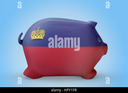 Side view of a piggy bank with the flag design of Lichtenstein.(series) - Stock Photo