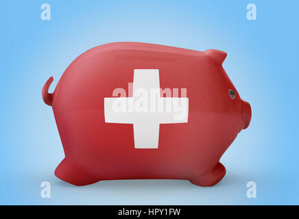 Side view of a piggy bank with the flag design of Switzerland.(series) - Stock Photo